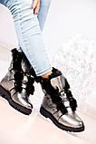 Зимние женские ботинки на шнуровке (никель), фото 5