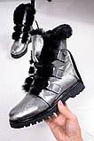 Зимние женские ботинки на шнуровке (никель), фото 2
