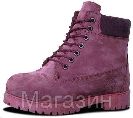Женские зимние ботинки Timberland Winter Burgundy Тимберленд С НАТУРАЛЬНЫМ МЕХОМ бордовые, фото 2