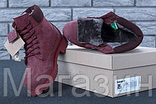 Женские зимние ботинки Timberland Winter Burgundy Тимберленд С НАТУРАЛЬНЫМ МЕХОМ бордовые, фото 3