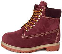 Женские зимние ботинки Timberland Winter Burgundy Тимберленд С МЕХОМ  бордовые dc2c98137ac5a