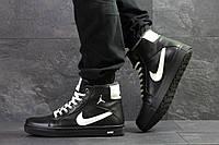 Мужские зимние кроссовки в стиле Nike Jordan. Черные. Код товара: Д - 6809