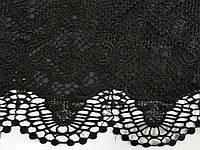 Гипюр на атласной основе купон односторонний, черный