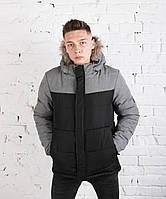"Мужская зимняя куртка Pobedov Winter ""LB"" Grey/Black, фото 1"