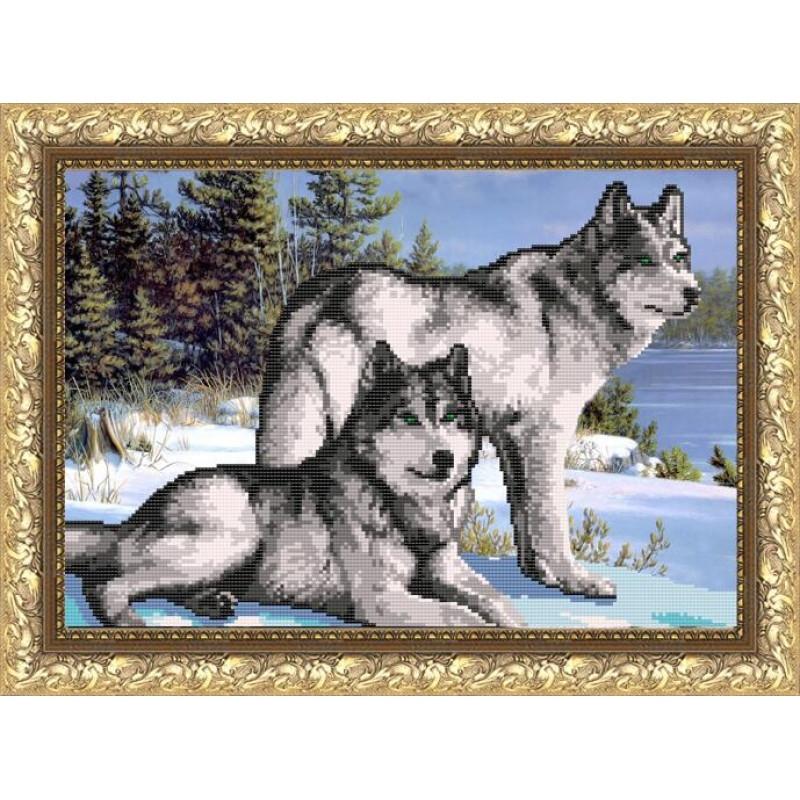 """Авторская канва для вышивки бисером 399х270мм """"Волки"""""""