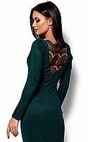 (M, L) Вечірнє темно-зелене плаття з мереживом Lusy