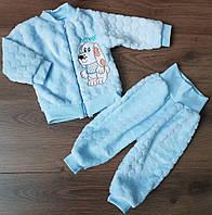 Махровый комплект для новорожденного 2 предмета с собачкой голубого цвета 20-26 р