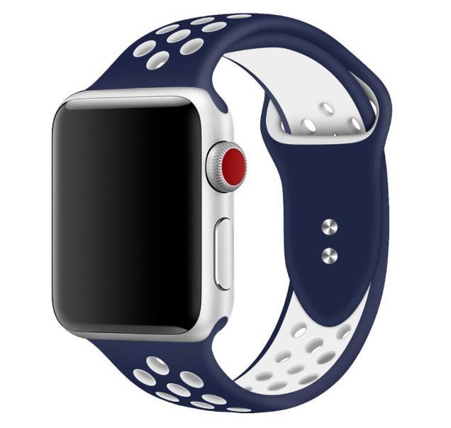 Спортивный ремешок с перфорацией Primo для Apple Watch 38mm / 40mm - Dark Blue&White