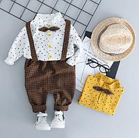 Комплект нарядный звездочки брюки+рубашка+подтяжки (бел)  80,90,100,110, фото 1
