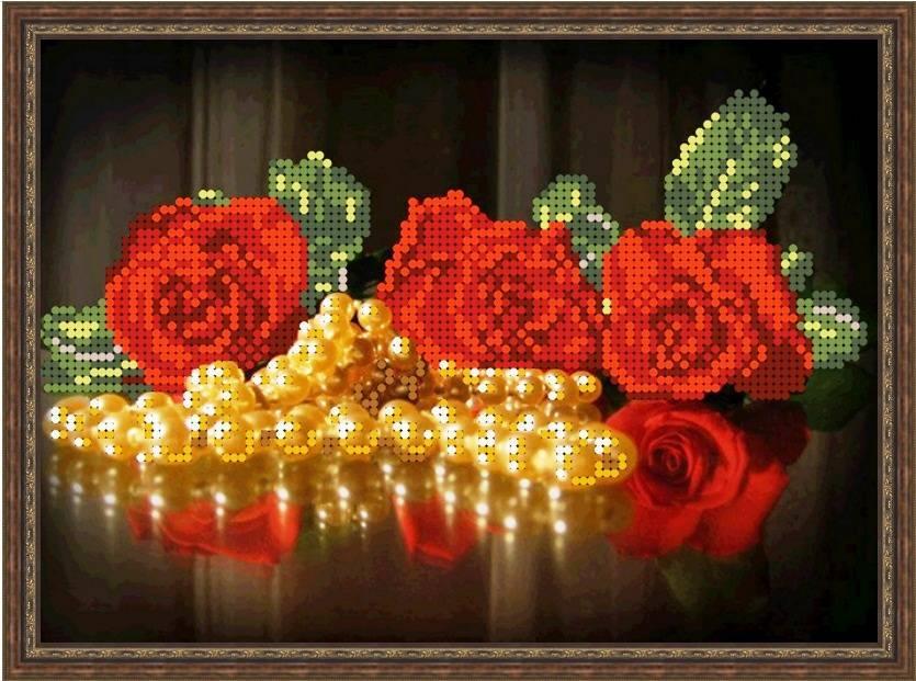 """Схема для вышивки бисером 23х17см """"Розы и жемчуг"""""""