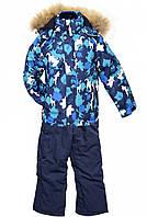 """Красивые качественные термокомплекты """"REIMА"""" для мальчиков 1-7 лет/голубой/лыжные/натуральная опушка"""