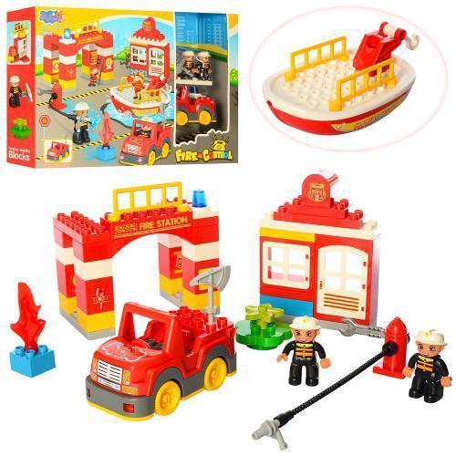 Конструктор для малышей Пожарная часть 3805, фигурки, машинка, 54 дет.
