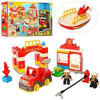 Конструктор для малышей Пожарная часть 3805, фигурки, машинка, 54 дет., фото 1