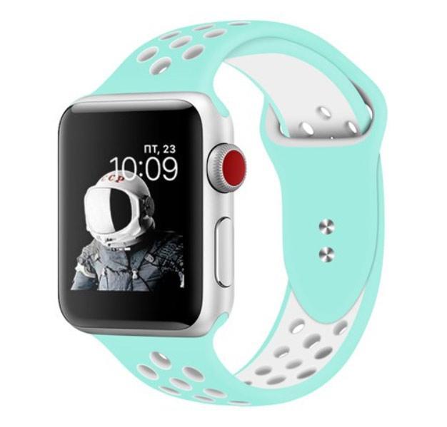 Спортивный ремешок с перфорацией Primo для Apple Watch 38mm / 40mm - Teal&White