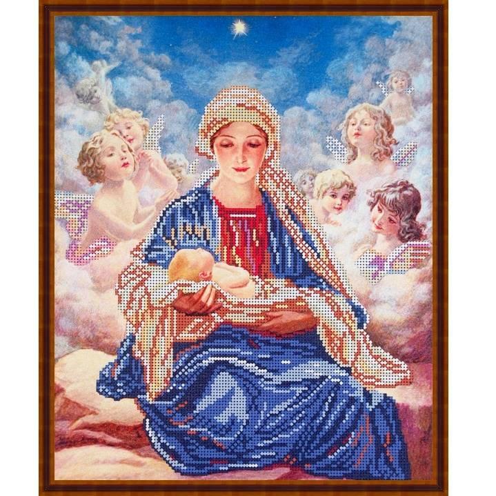 """Схема для вышивки бисером 34х28см """"Мария и ангелы"""""""
