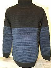 Светр, пуловер чоловічий напіввовняної синій під горло Seweta