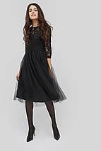 Женское черное платье с гипюровым верхом и юбкой из сетки (Gensi crd), фото 3