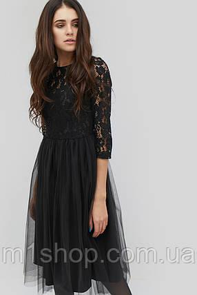 Женское черное платье с гипюровым верхом и юбкой из сетки (Gensi crd), фото 2