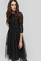 Женское черное платье с гипюровым верхом и юбкой из сетки (Gensi crd)