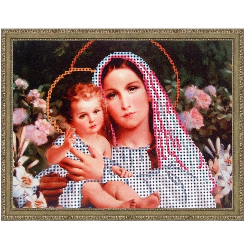 """Схема для вышивки бисером 32х25см """"Мадонна с младенцем"""""""