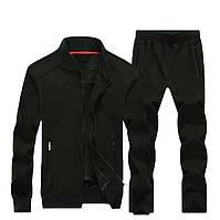 Утепленный мужской костюм на меху черный