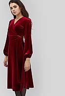 Расклешенное приталенное бархатное платье на запах  (Miris crd)