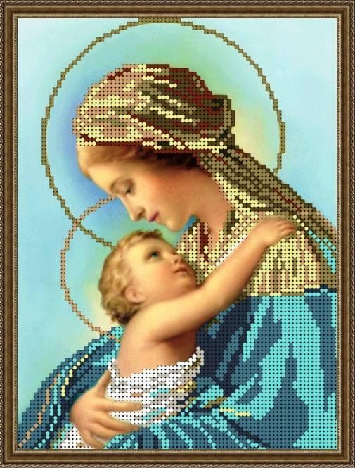 """Схема для вышивки бисером 24х18см """"Богородица Дева Мария с Иисусом"""""""