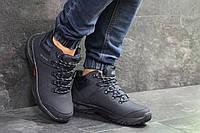 Зимние натуральные мужские кроссовки Ecco Biom (реплика) нубук с мехом  темно-синие cdbe2ff0f76c0
