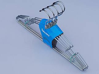 Плічка вішалки тремпеля металеві хромовані, довжина 41 см, в упаковці 5 штук