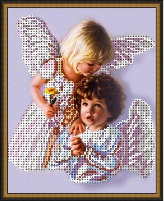 """Схема для вышивки бисером 24х19см """"Небесные ангелы"""""""