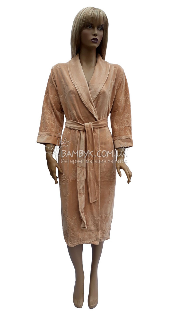 Nusa классический велюровый халат бежевого цвета NS-0305