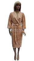 Nusa классический велюровый халат бежевого цвета NS-0305, фото 1