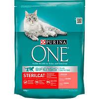 Корм Purina One Sterilcat для стерилизованных кошек с лососем и пшеницей 800 г