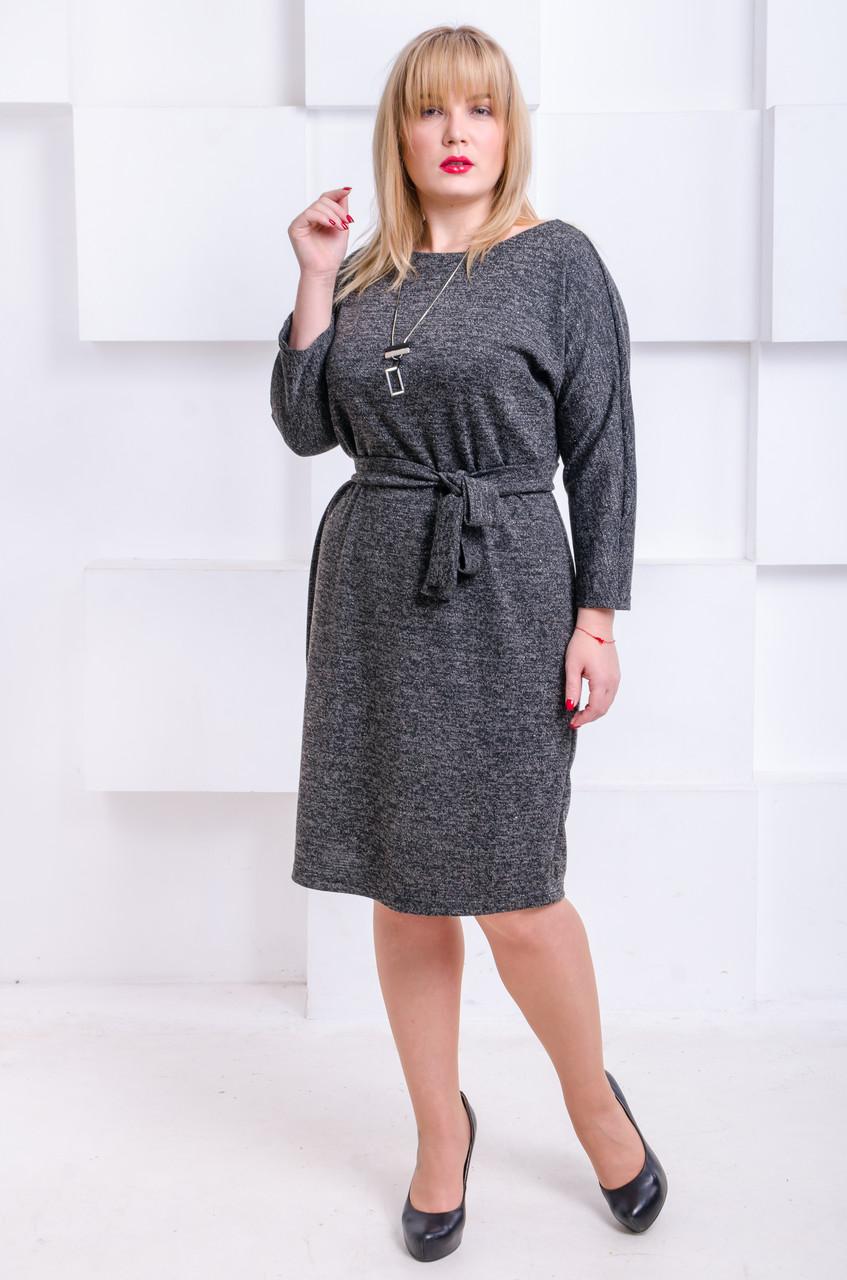 4e071a87e31a Красивое платье с люрексом размер плюс Элеон черное (52-60) - FaShop Женская