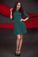 Демисезонное платье трапеция Жемчуг зеленое 44-52 размера