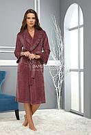 Велюровый халат с гипюром Nusa цвета чайной розы (новинка от бренда) NS-0359