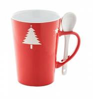 Новогодняя чашка с ложкой, красная