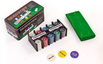 Покерний набір в металевій коробці (200 фішок з номіналом,2 кол. карт,полотно)