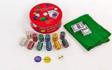Покерний набір в круглій металевій коробці (240 фішок з номіналом,2кол.карт,полотно)