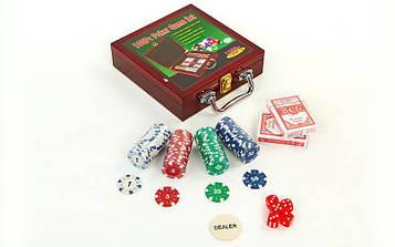 Набір для покеру в дерев'яному кейсі (100 фішок з номіналом, 2 кол. карт,5куб)