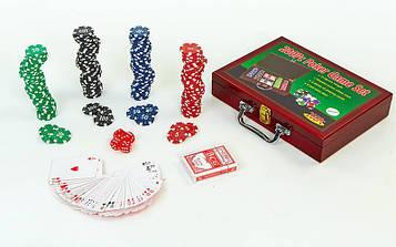 Набір для покеру в дерев'яному кейсі (200 фішок з номіналом, 2 кол. карт,5куб)