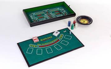 Міні-казино (набір для гри в рулетку і покер) 3 в 1 (100 фішок, 2кол. карт, 2куб., полотно)