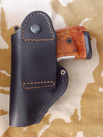 Кобура поясний шкіряний (скоба) для пістолетів: Макарова і Stalker 914, фото 2