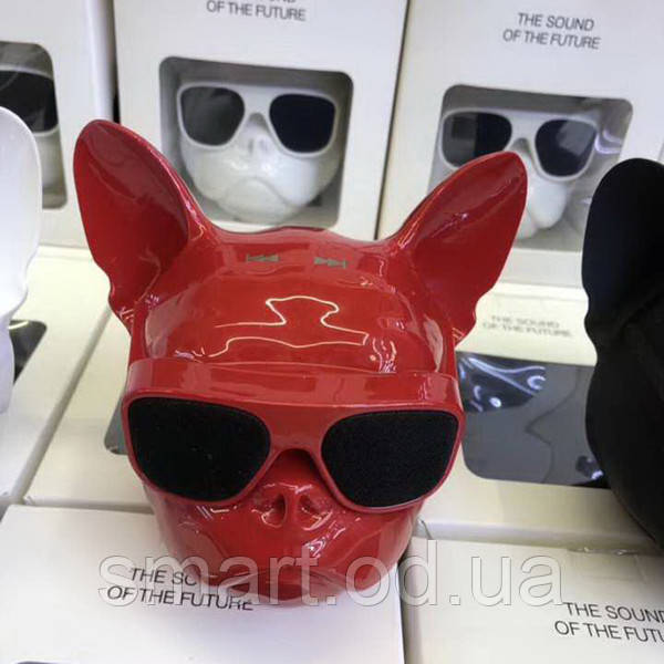 Колонка портативная беспроводная Bluetooth S3 dog «CoolDog Французский Бульдог» Красный