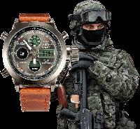 Наручные мужские армейские часы AMST Watch / спортивные наручные часы в стиле АМСТ, Коричневый
