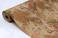 Крафт бумага для цветов и подарков с рисунком 70см*10м УП - Винтаж