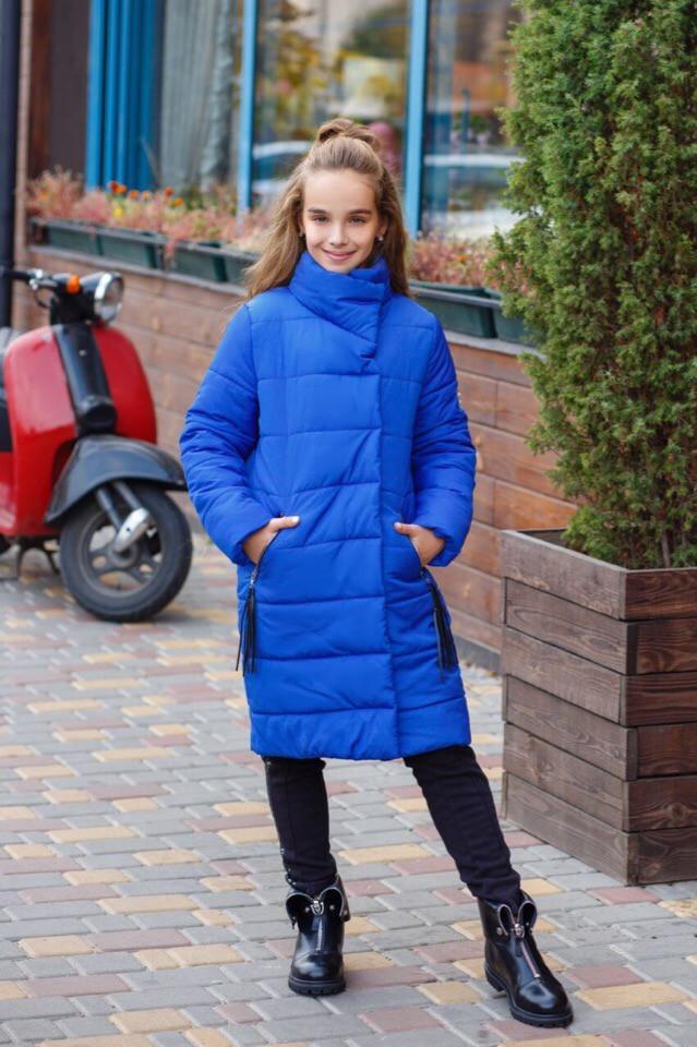 Теплое зимнее пальто -куртка для девочки Зефирка