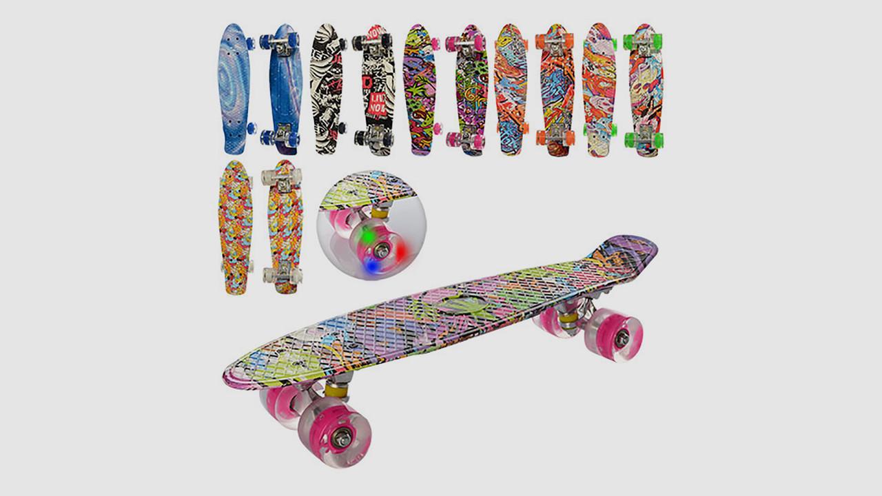 Скейт PROFI пенни с алюминиевой подвеской. Колеса из ПУ светятся. Микс видов