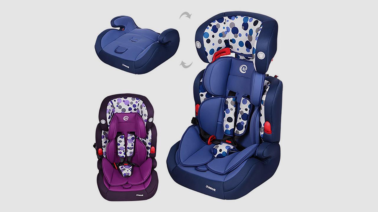 Автокресло детское EL CAMINO JUNIOR - 2в1 автокресло-бустер. 2 цвета (синее и фиолетовое)