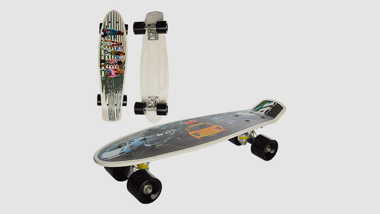 Скейт пенни с алюминиевой подвеской. Колеса из ПУ. 2 вида (фото-принт)